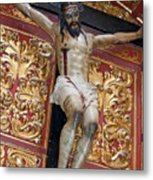 Statue Of The Crucifixion Inside The Catedral De Cordoba Metal Print by Sami Sarkis