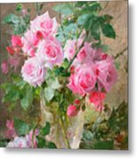 Still Life Of Roses In A Glass Vase  Metal Print by Frans Mortelmans