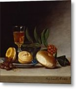 Still Life With A Wine Glass Metal Print by Raphaelle Peale
