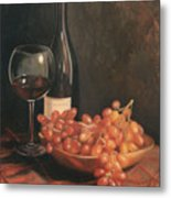 Still Life With Wine And Grapes Metal Print by Anna Rose Bain