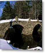 Stone Double Arched Bridge - Hillsborough New Hampshire Usa Metal Print by Erin Paul Donovan