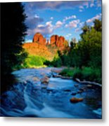 Stormlight On Red Rock Crossing Metal Print by Kerrick James