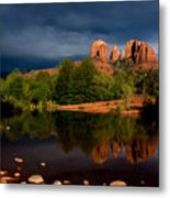 Stormy Day At Cathedral Rock Metal Print by David Sunfellow