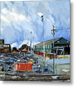 Stormy Sky Over Shipyard And Steel Mill Metal Print by Asha Carolyn Young