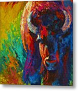Straight Forward Introduction - Bison Metal Print by Marion Rose