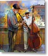 Street Musicians In Prague In The Czech Republic 01 Metal Print by Miki De Goodaboom
