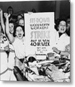 Striking Women Employees Of Woolworths Metal Print by Everett