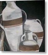 Striped Water Jars Metal Print by Trudy-Ann Johnson
