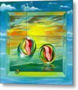 Strollin Miami Beach At Sunset Metal Print by Roger Calle