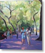 Strolling In Central Park Metal Print by Merle Keller