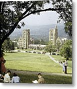 Students Sit On A Hill Overlooking Metal Print by Volkmar Wentzel