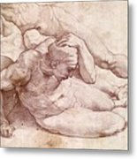 Study Of Three Male Figures Metal Print by Michelangelo