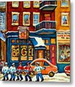 St.viateur Bagel Hockey Montreal Metal Print by Carole Spandau