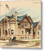Sub Police Station. Chestnut Hill Pa. 1892 Metal Print by John Windrim