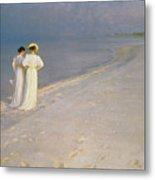 Summer Evening On The Skagen Southern Beach With Anna Ancher And Marie Kroyer Metal Print by Peder Severin Kroyer