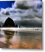 Sun Shining On Haystack Rock Metal Print by David Patterson