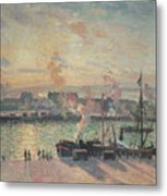 Sunset At Rouen Metal Print by Camille Pissarro
