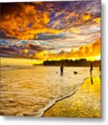 Sunset At The Coast Metal Print by Iris Greenwell