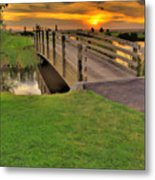 Sunset Foot Bridge Metal Print by Dale Stillman