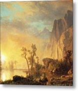 Sunset In The Rockies Metal Print by Albert Bierstadt