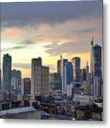 Sunset Over  Makati City, Manila Metal Print by Neil Howard
