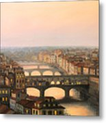 Sunset Over Ponte Vecchio In Florence Metal Print by Kiril Stanchev