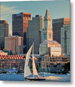 Sunset Sails On Boston Harbor Metal Print by Susan Cole Kelly