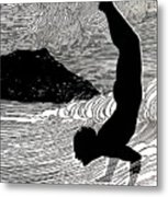 Surfer And Waikiki Metal Print by Hawaiian Legacy Archive - Printscapes