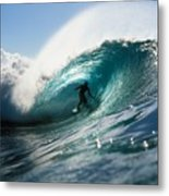 Surfer At Pipeline Metal Print by Vince Cavataio - Printscapes