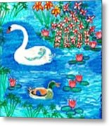 Swan And Duck Metal Print by Sushila Burgess