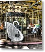 Swan Seat At The Carousel  Metal Print by Michael Garyet