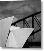 Sydney Opera House With Harbour Bridge Metal Print by Avalon Fine Art Photography