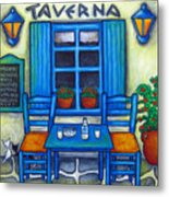 Table For Two In Greece Metal Print by Lisa  Lorenz