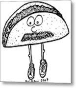 Taco Mustache Metal Print by Karl Addison