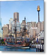 Tall Ships - Sydney Harbor Metal Print by Charles Warren