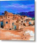 Taos Pueblo Village Metal Print by Elise Palmigiani