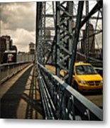 Taxi Crossing Smithfield Street Bridge Pittsburgh Pennsylvania Metal Print by Amy Cicconi