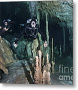 Technical Divers In Dreamgate Cave Metal Print by Karen Doody