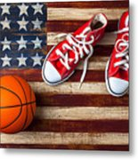 Tennis Shoes And Basketball On Flag Metal Print by Garry Gay