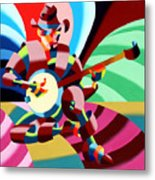 The Abstract Futurist Cowboy Banjo Player Metal Print by Mark Webster