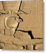 The Ancient Egyptian God Horus Sculpted On The Wall Of The First Pylon At The Temple Of Edfu Metal Print by Sami Sarkis