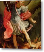 The Archangel Michael Defeating Satan Metal Print by Guido Reni