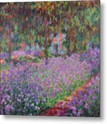 The Artists Garden At Giverny Metal Print by Claude Monet