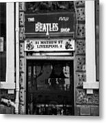 The Beatles Shop In Mathew Street In Liverpool City Centre Birthplace Of The Beatles Merseyside  Metal Print by Joe Fox