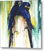 The Blue Parrots Metal Print by Anthony Burks Sr