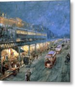 The Bowery At Night Metal Print by William Sonntag