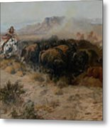 The Buffalo Hunt Metal Print by Charles Russell