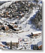 The Busy Chaudanne In Meribel The Heart Of Meribel In The Three Valleys Resort France Metal Print by Andy Smy