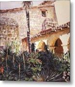 The Cactus Courtyard - Mission Santa Barbara Metal Print by David Lloyd Glover