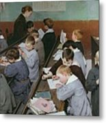 The Children's Class Metal Print by Henri Jules Jean Geoffroy